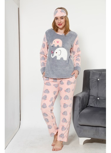 Akbeniz Welsoft Kadın Pijama Takım Somon